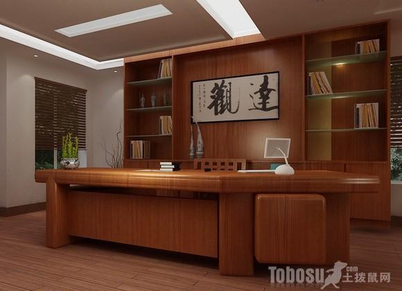 这间总经理办公室装修风格仍然是中式风格,在色彩应用还室内装饰图片
