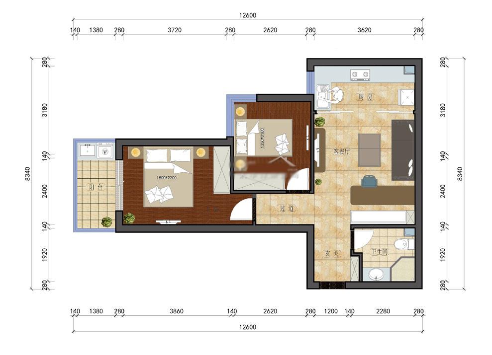 60平米小户型设计图-60平小户型设计方案 一居室变二居室
