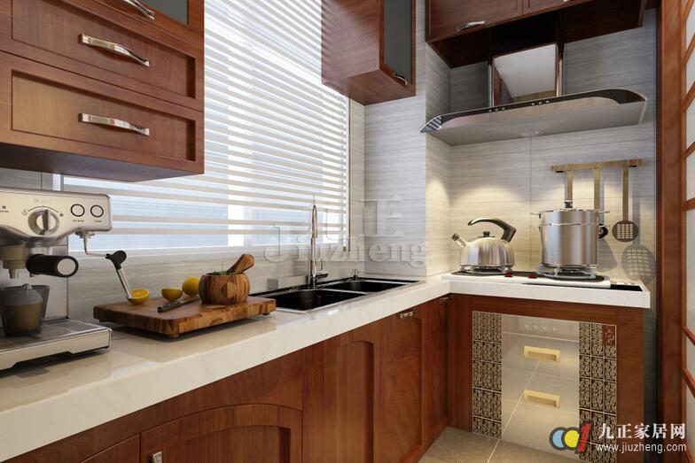 而美式厨房大多会采用深棕实木色的橱柜