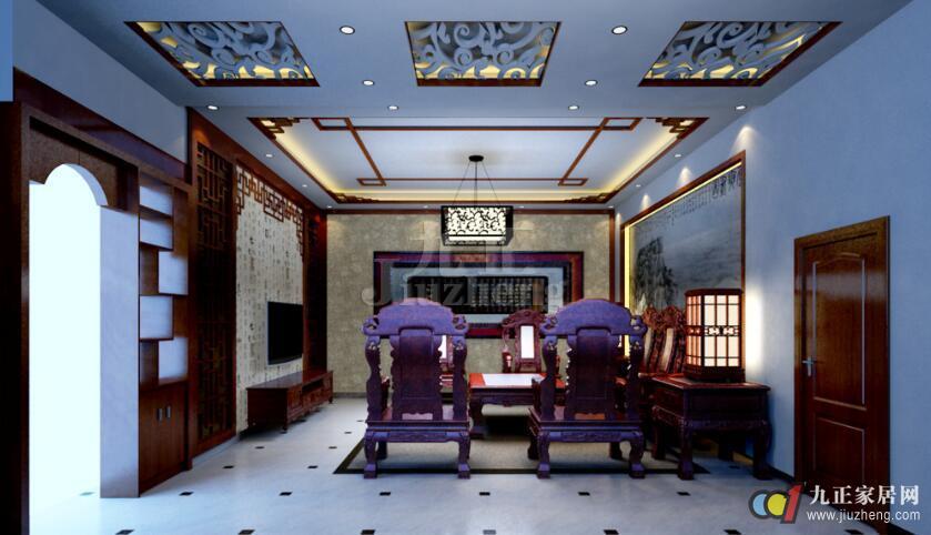 地面和墙面采用深色的地板或者木饰,天花板也是深色木质吊顶还有淡雅
