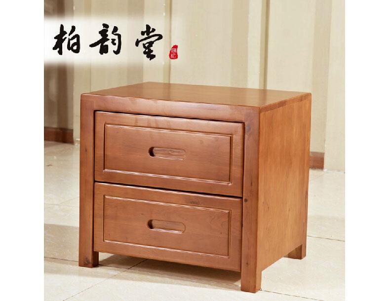 现代中式两抽柏木床头柜实木柚木色2节储藏