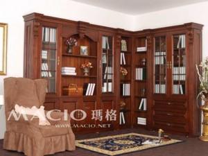 玛格定制家具 欧式l型书柜 欧式 实木雕花 转角书柜 可量身定制图片