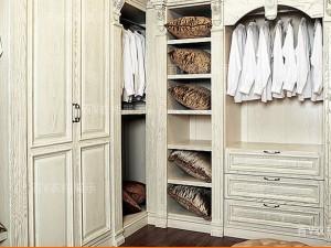 百v橱柜 美式乡村 白色 水曲柳实木门板定制衣柜图片