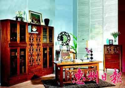 """在宝之岛品牌的产品系列中,间厅柜两头粗中间细的设计,使家具也能有"""""""