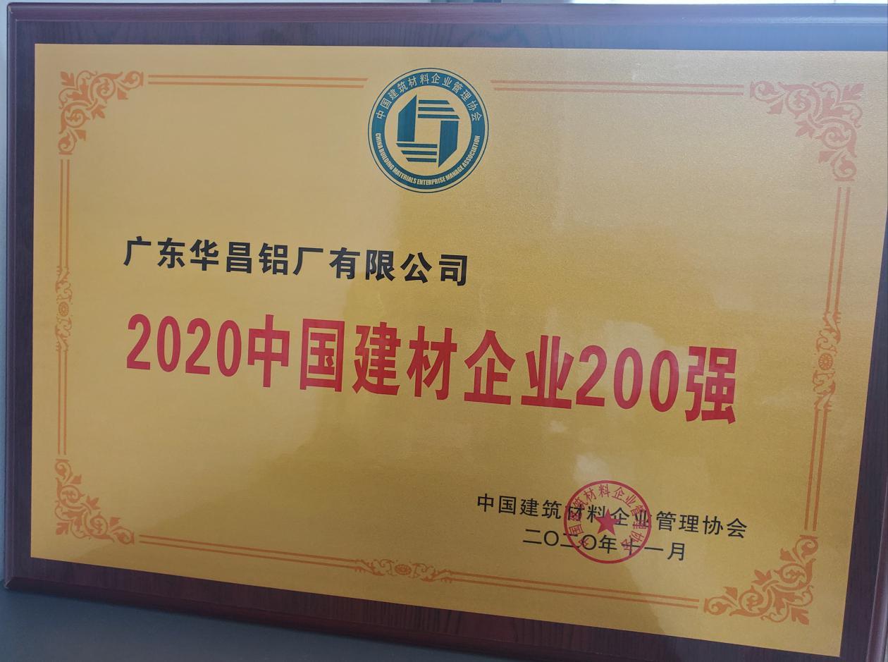 """華昌鋁業獲""""2020年中國建材企業200強"""",榮譽背后是華昌人對品質的堅守"""