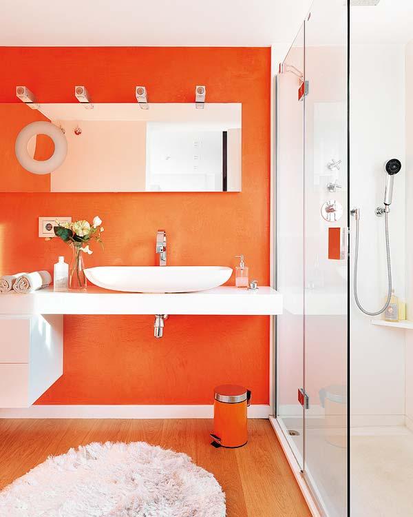 橙色背景墙洗手台装修效果图