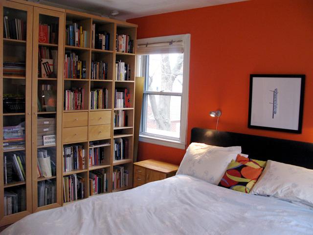 橙色背景墙书架装修效果图