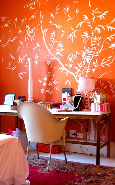 橙色书桌装修效果图