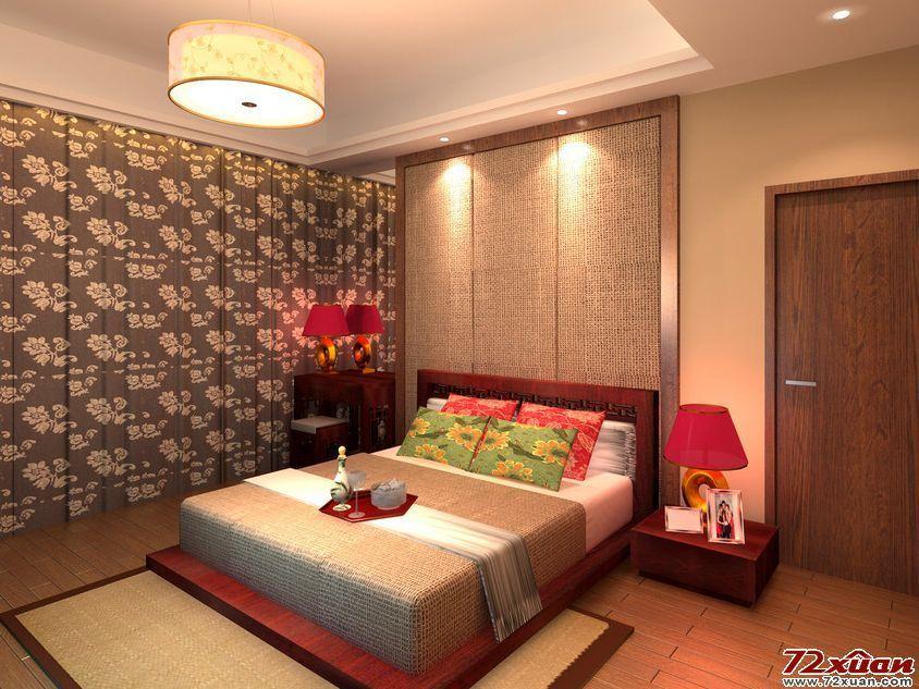 中式卧室背景墙装修效果图