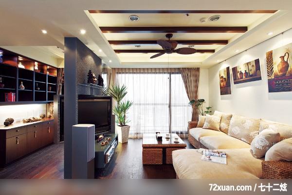 客厅,造型天花板,阳台落地窗
