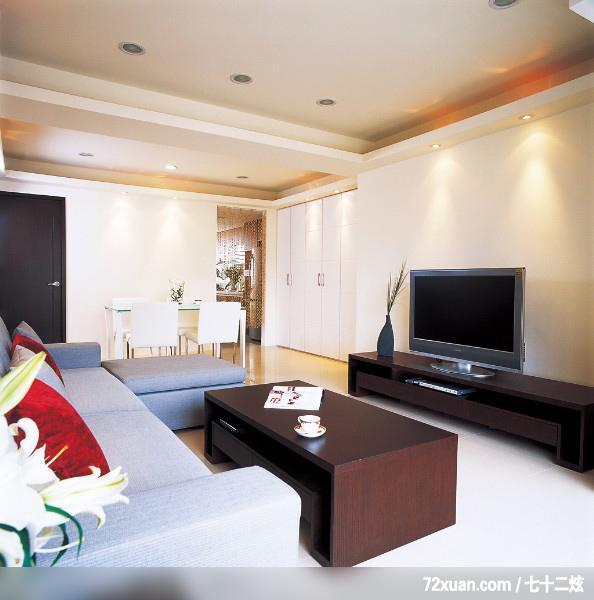 觐得空间设计,游淑慧,客厅,隐藏门,电视柜,视听柜,造型天花板