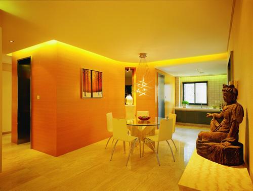 橙色背景墙装修样板间效果图