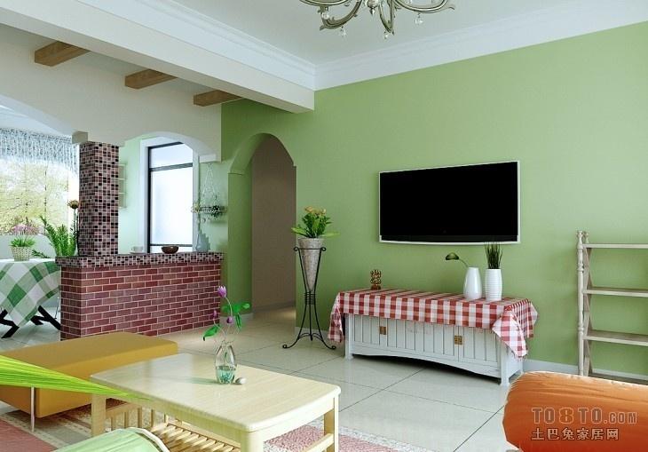 田园风格浅绿色电视背景墙装修效果图装修效果图