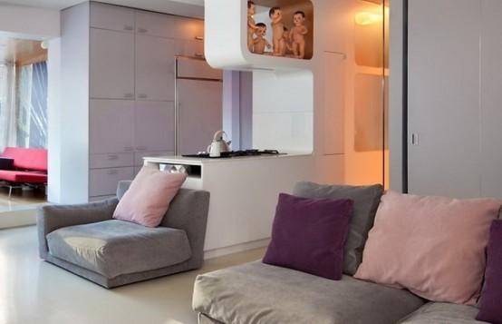 时尚二居室温馨客厅隔断装修效果图大全