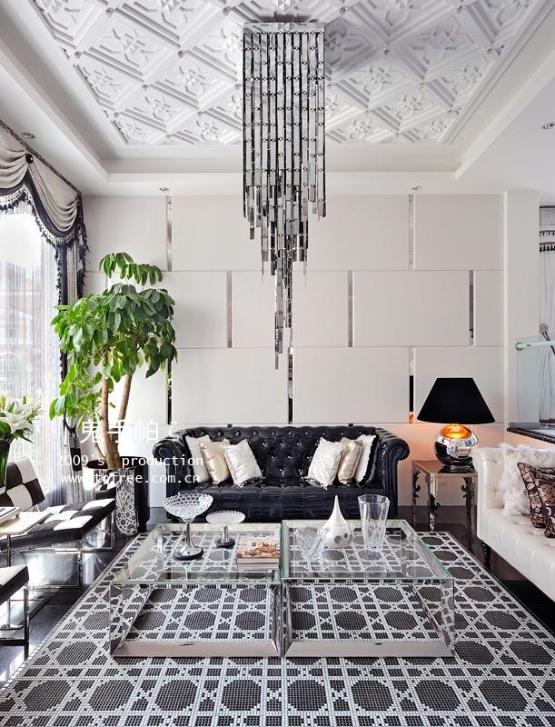 现代欧式客厅天花吊顶设计图装修效果图