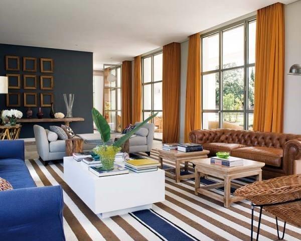 120万打造清新地中海风格客厅窗帘装修效果图大全