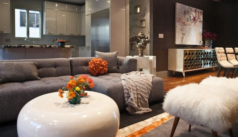 两室一厅冷色调客厅装修效果图大全