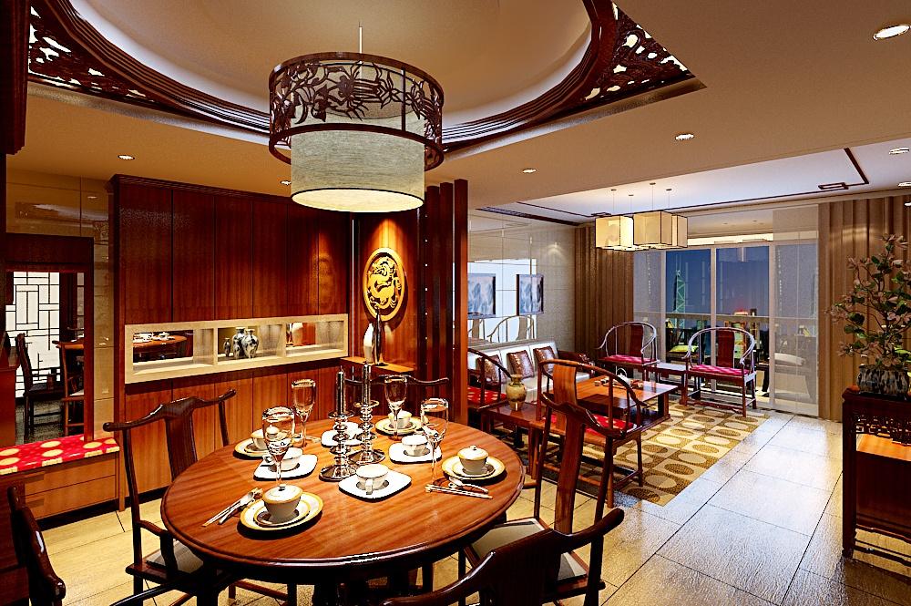 中式古典的四居室餐厅装修效果图大全