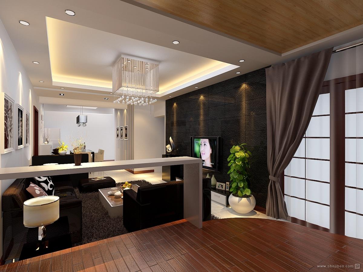 现代时尚两居室客厅装修效果图大全