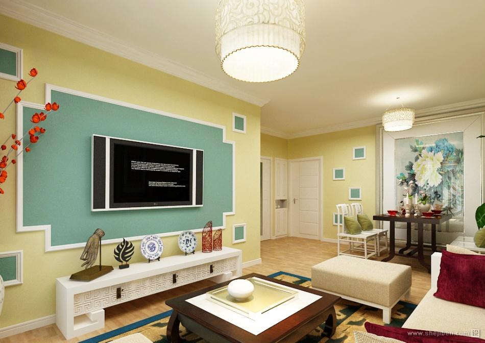 小户型客厅电视背景墙装修效果图片 (3/3)