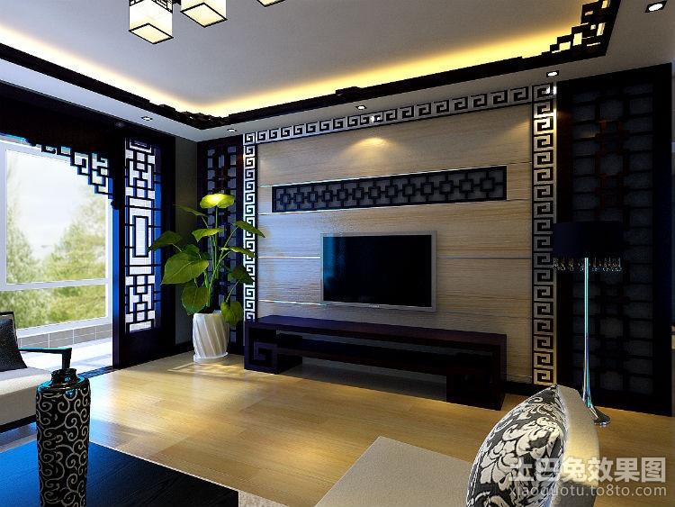 中式风格实木电视背景墙装修 (4/4)图片