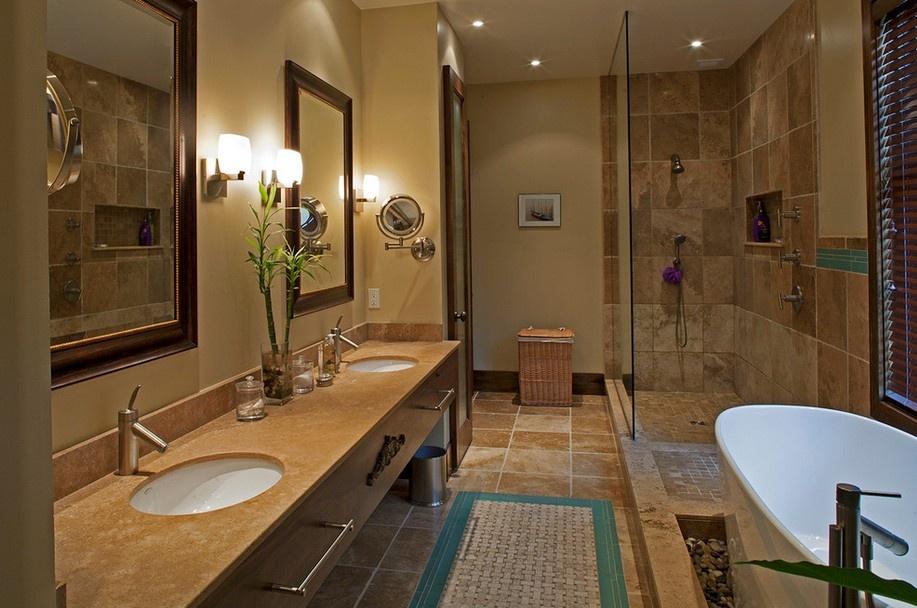 美式卫生间装修效果图欣赏 卫生间玻璃隔断装修效果图 3 4高清图片