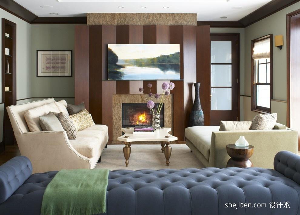 欧式现代风格客厅壁炉背景墙装修效果图装修效果图