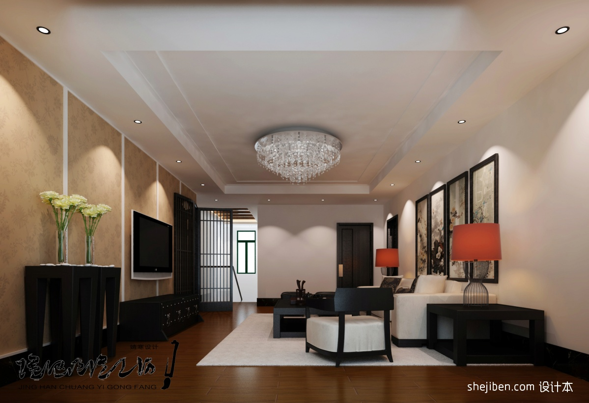 二层复式客厅装修效果图 中式客厅石膏吊顶装修效果图图片