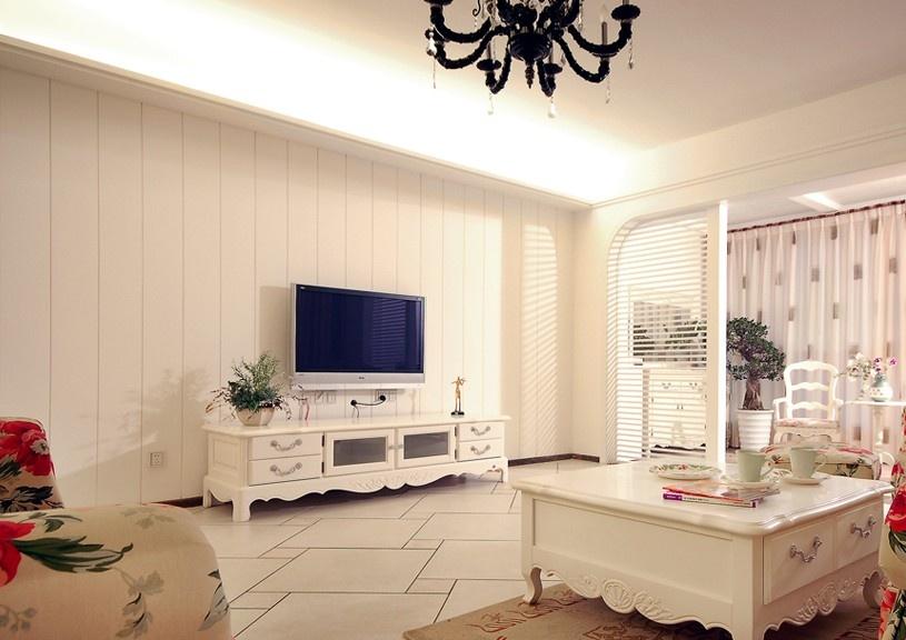 欧式田园客厅电视墙设计效果图