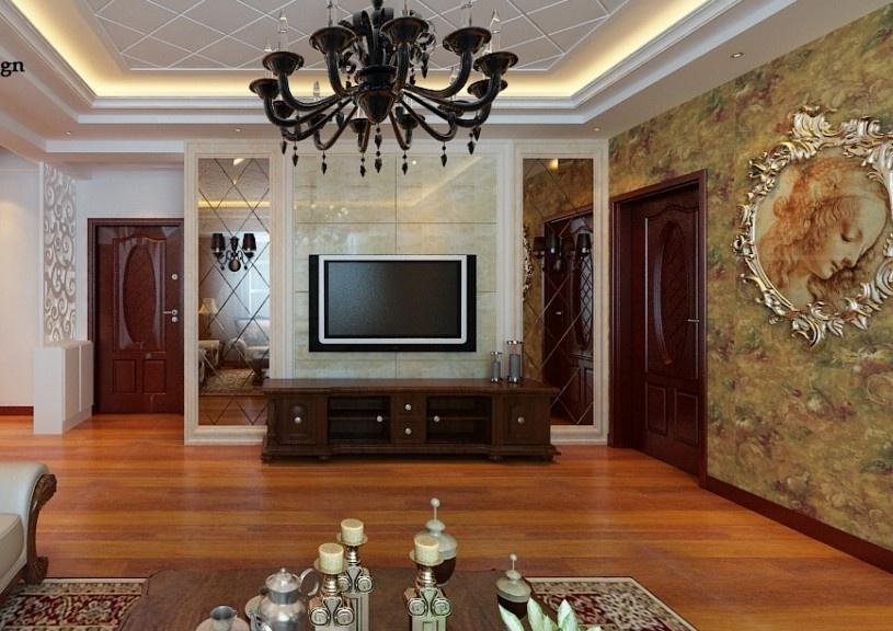 欧式客厅电视背景墙装修效果图 大理石与玻璃打造的电视背景墙效果图 第3张 九正家居装修效果图