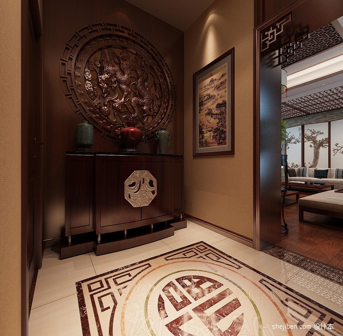 中式玄关装修效果图进门 新中式正对大门玄关效果图 中式玄关装修效果图片