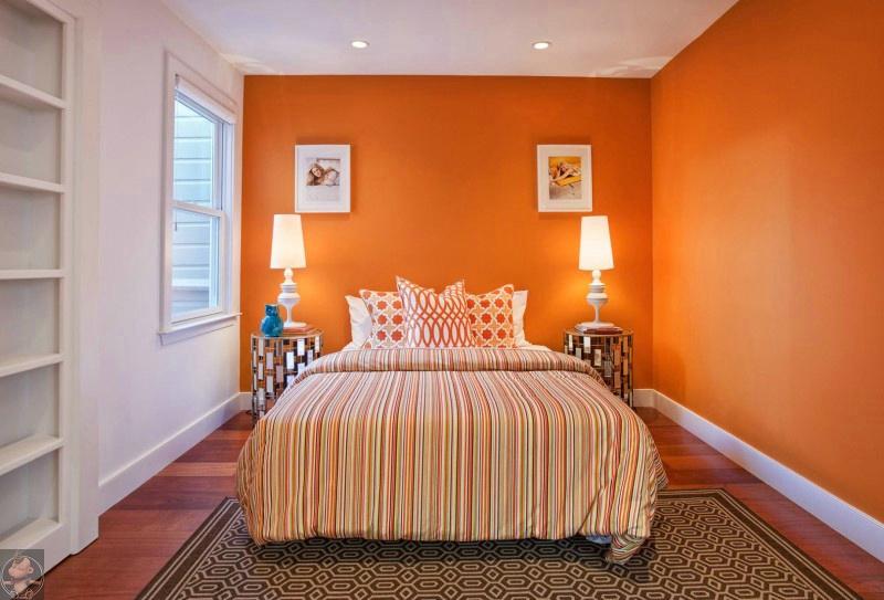 欧式卧室装修效果图 卧室橙色墙装修效果图