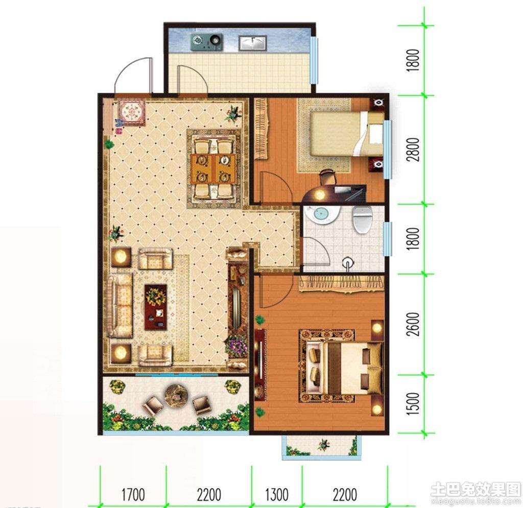 两室一厅房子设计平面图 (9/11)图片
