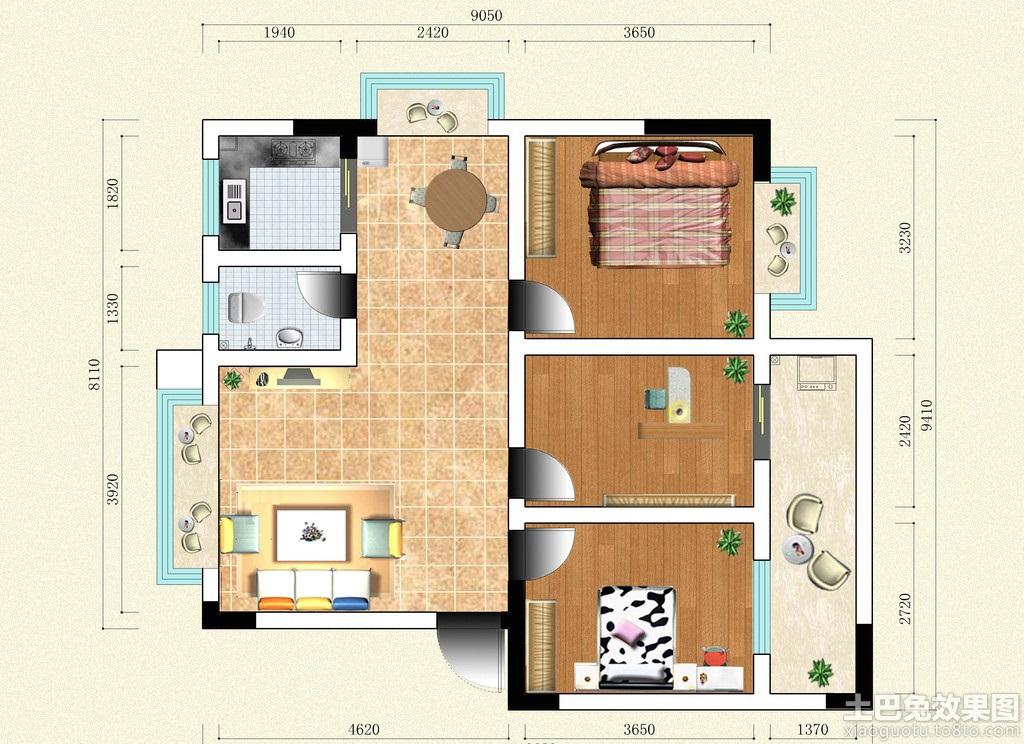三室两厅房子设计平面图