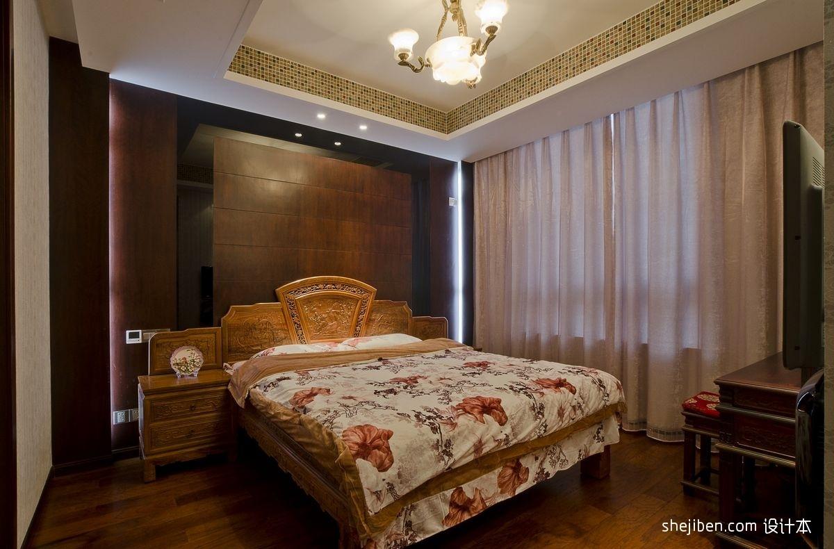 中式臥室裝修效果圖大全2012圖片 臥室窗簾設計 (4/6)