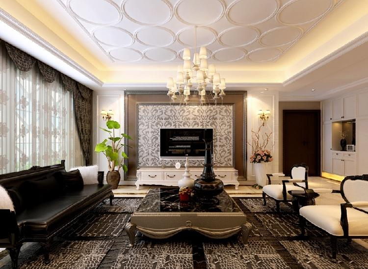欧式电视背景墙 欧式天花板石膏吊顶装修效果图装修