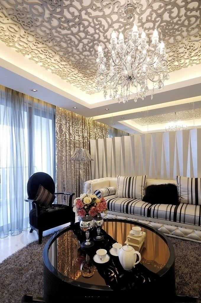 现代客厅镂空雕花板吊顶效果图装修效果图 第7张 家居图库 九正家居网高清图片