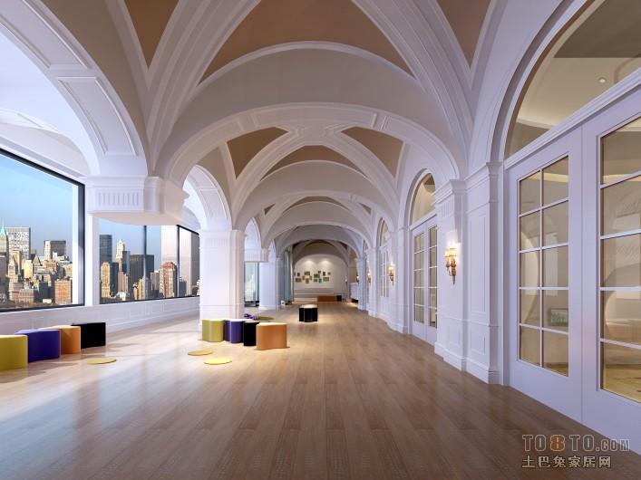 欧式学校走廊设计效果图装修效果图
