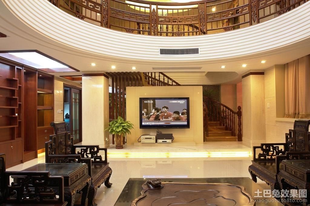 新中式风格别墅客厅电视墙装修效果图 (2/3)