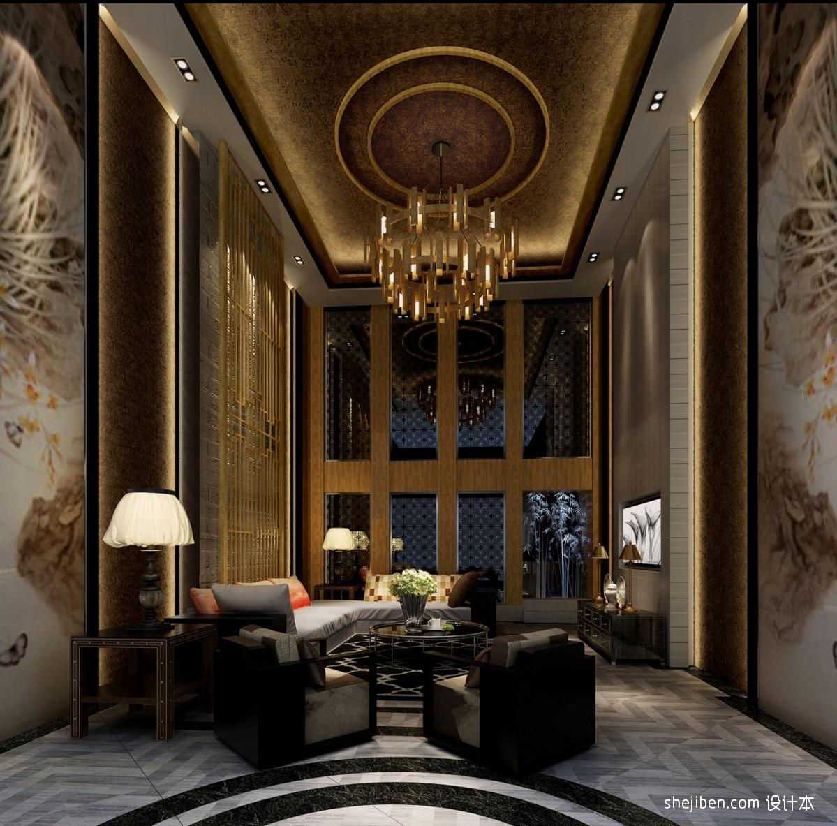 中式客厅吊顶效果图 (2/5)图片