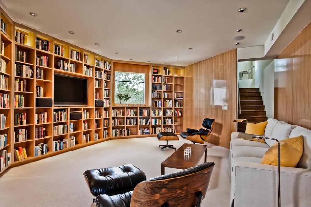 [美式书柜式客厅电视背景墙效果图美式小别墅客厅图片