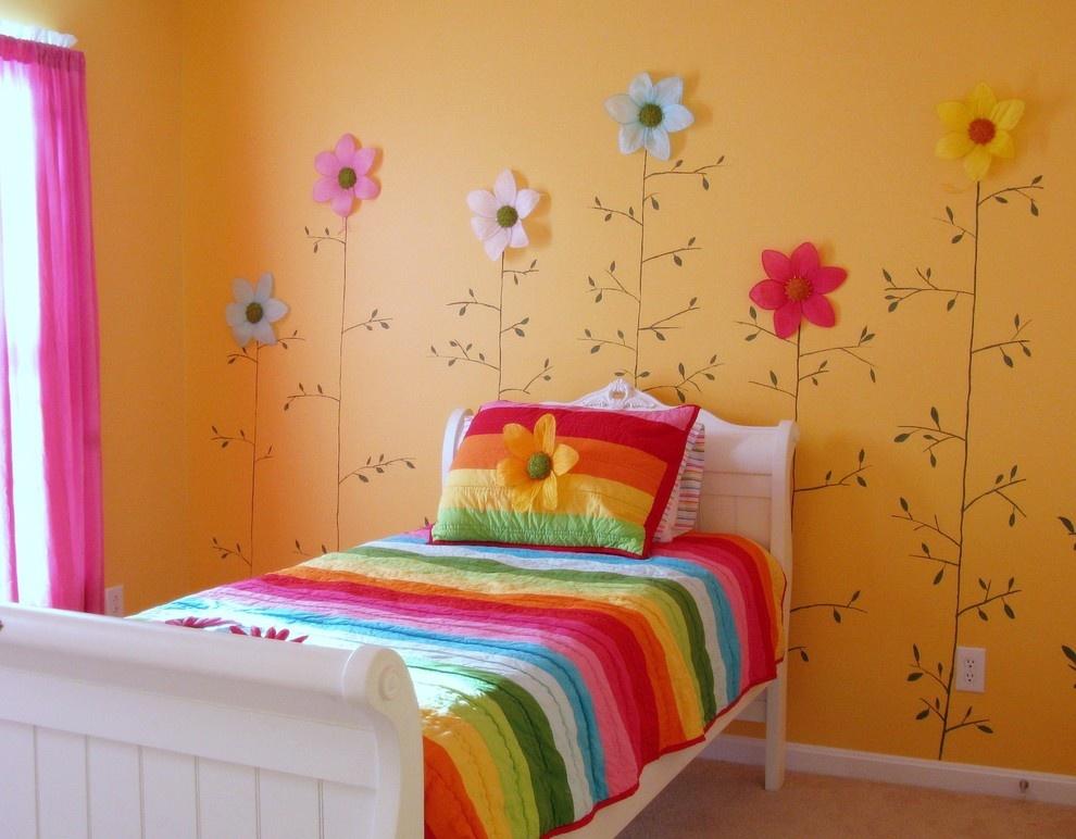 简约儿童卧室橙色背景墙装修效果图大全
