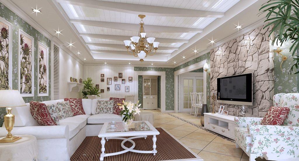 欧式田园客厅木板吊顶装修效果图装修效果图