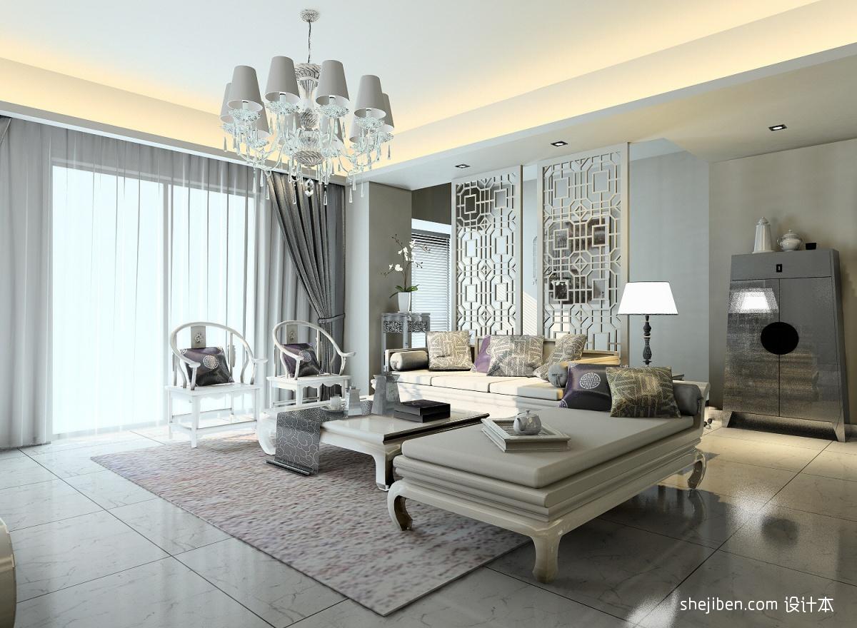 新中式客厅沙发屏风隔断效果图高清图片