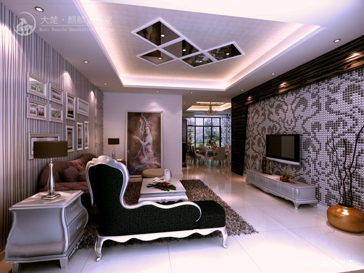 客厅马赛克瓷砖背景墙效果图装修效果图 第2张 家居图库 九正家居网高清图片