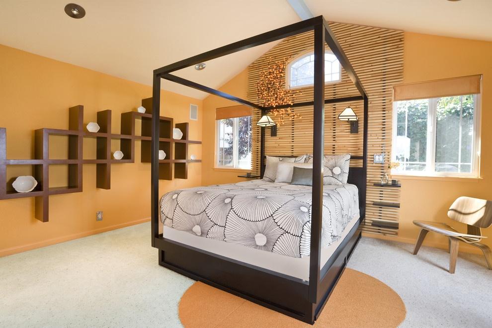 美式卧室橙色背景墙装修图片