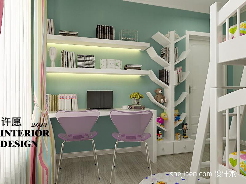 儿童房书桌装修设计图片