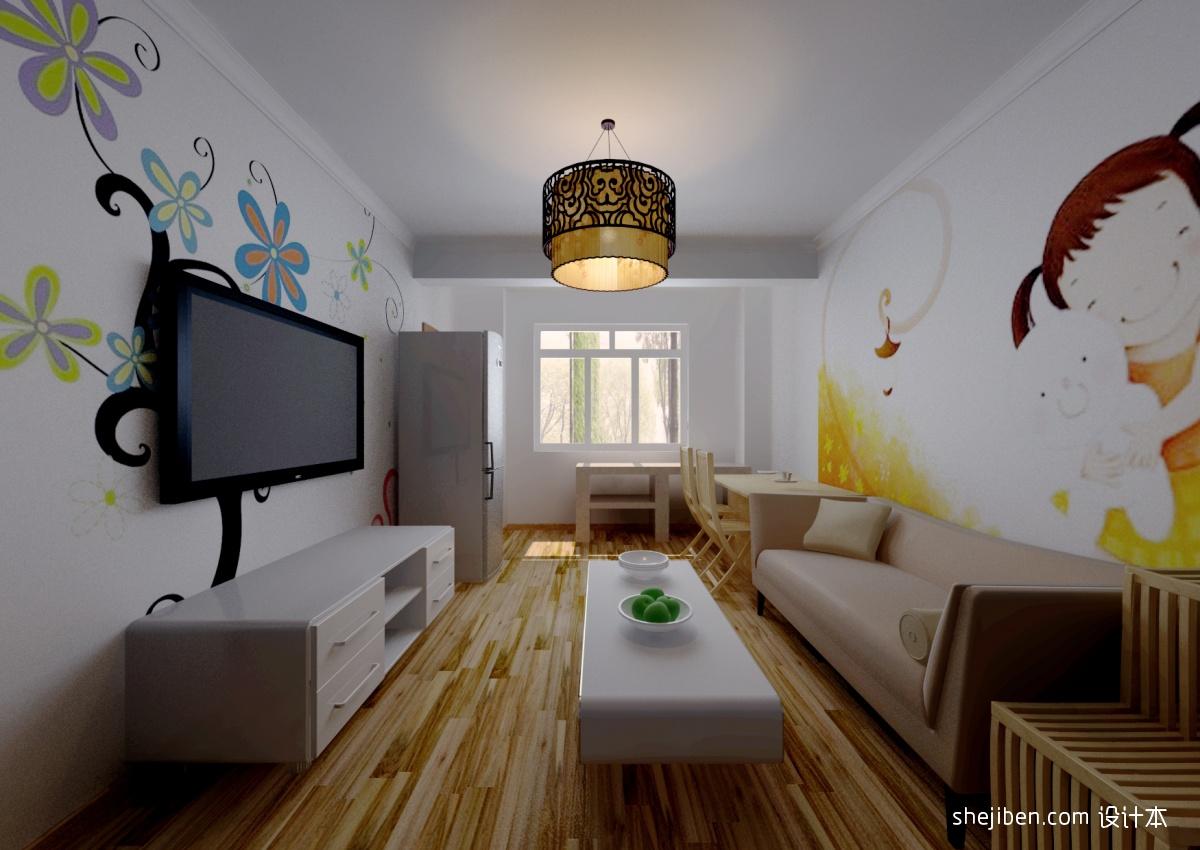 手绘客厅电视背景墙装修设计装修效果图_第4张 - 家居