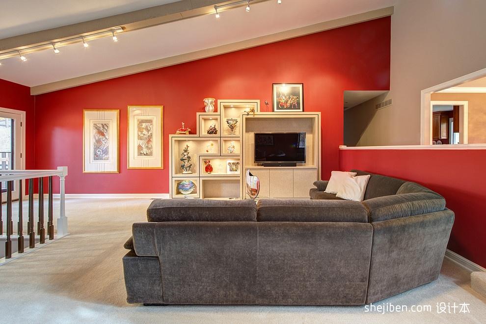 欧式别墅顶楼客厅电视柜装修设计图装修效果图