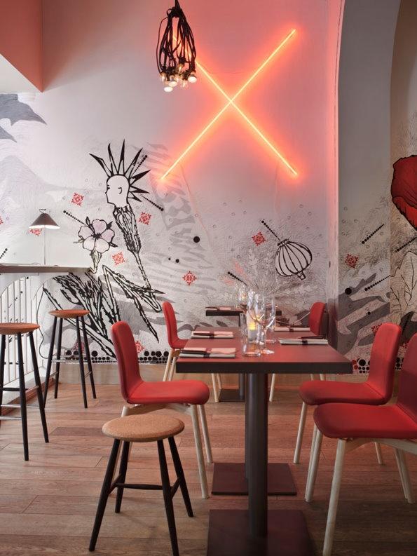 现代简约餐厅背景墙效果图